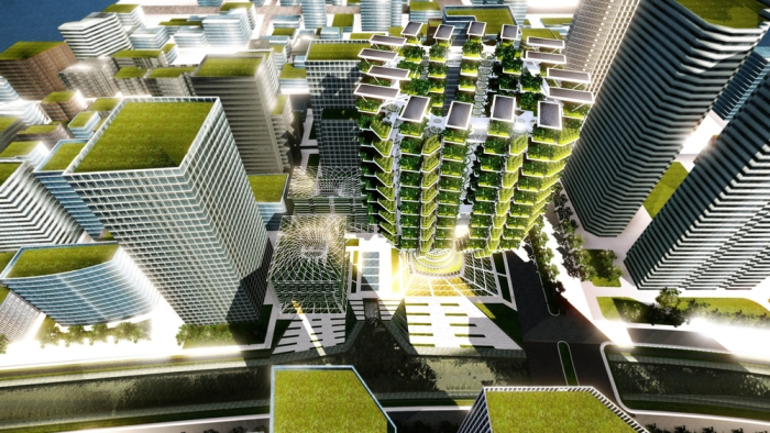 Urban Skyfarm is a prototype vertical farm project which would mainly support local food production and distribution while at the same time contribute to improving the environmental quality through water, air filtration and renewable energy production.
