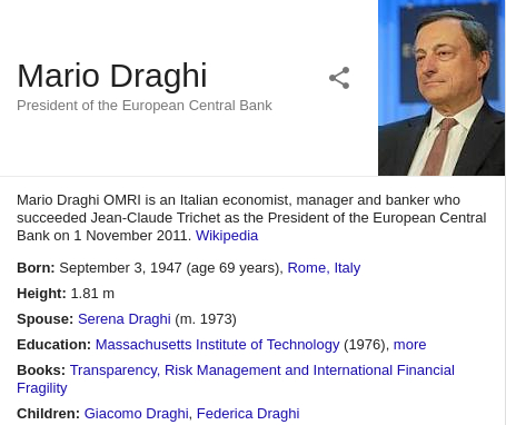 Mario Draghi OMRI is an Italian economist, manager and banker